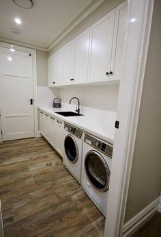 LAUNDRY IDEAS – We custom designed and manufactured this laundry, with… Laundry Room Wall Decor, Laundry Room Remodel, Laundry In Bathroom, Laundry Rooms, Laundry Shelves, Laundry Room Storage, Stone Benchtop, Splashback, White Stone