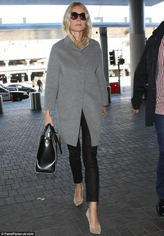 Gwyneth Paltrow.. grey knit coat, pinstripe skinny trousers and nude heels, complete with the Jason Wu Jourdan 2 leather tote.