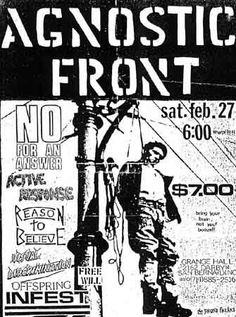 Agnostic Front, Offspring, Infest, No for an Answer punk hardcore flyers