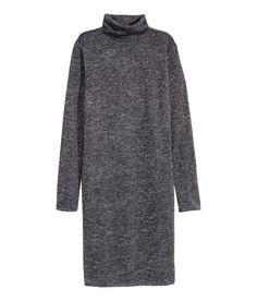 Glittery Turtleneck Dress | Black | Ladies | H&M US