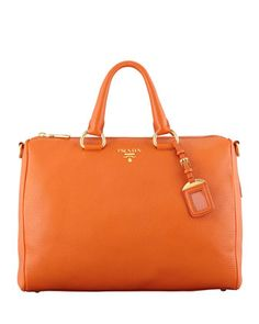 Daino Zip-Top Tote Bag, Orange by Prada at Neiman Marcus.