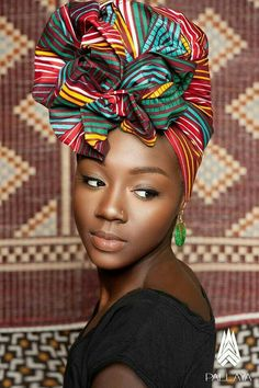 In the headwraps became a central accessory of Black Power's rebellious uniform. Headwrap, like the Afro, challenged accepting a style once used to shame African-Americans. African Beauty, African Women, African Fashion, Ghanaian Fashion, Ankara Fashion, African Style, Fashion Dresses, Moda Afro, African Head Wraps