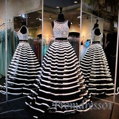 Unqiue black and white stripes organza two pieces long poofy prom dress for…