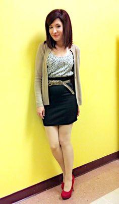 Office Wear : Dress - Forever 21, Cardigan - American Eagle, Shoes -Target , Belt -Target