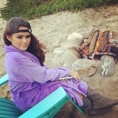 Madison Pettis by the bon fire