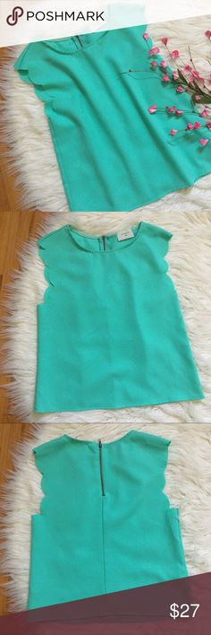 """Everly scalloped mint green blouse Adorable mint green blouse with scalloped details and exposed zipper. ~33"""" bust and 20.5"""" long. In excellent condition. Everly Tops Blouses"""