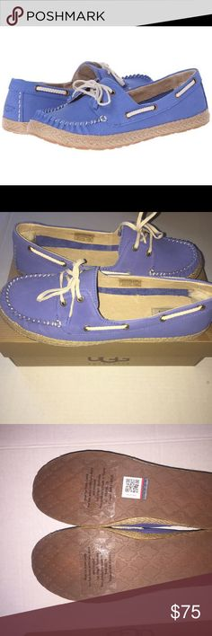 New in box UGG Tylin boat shoes Never wore these. outside is a very soft blue suede. has a little patch of fur on the inside to protect the heel. UGG Shoes Flats & Loafers