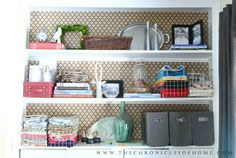 For the back of the dining room hutch (The Chronicles of Home: $2 Office Shelves Update)