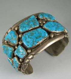 Zuni Heavy Turquoise & Silver Bracelet -  awesome