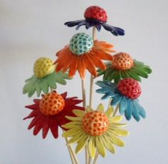 3 Bright ceramic daisy style flowers by BronsCeramics on Etsy