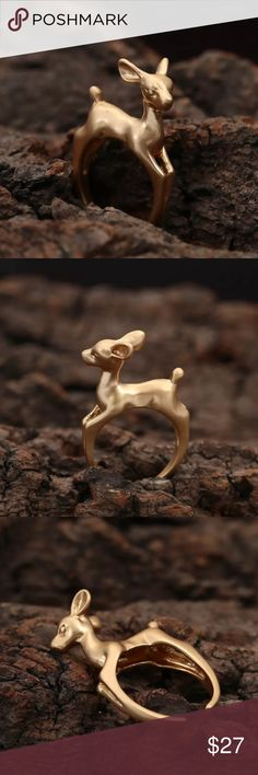 Very cute deer ring host pick  Very cute adjustable deer ring  pleas comment if you have any questions  Jewelry Rings