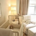 Lynde Easterlin Interiors - nurseries - jute, rug, taupe, drapes, white, glider, ottoman, gray, piping, white, crib,  Chic, sophisticated gender