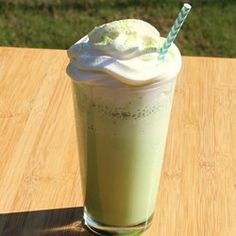"""Delicious Matcha Green Tea Frappuccino®   """"Inspired by popular drink from Starbucks®, this recipe provides a quick, easy, and less-expensive way to make a matcha green tea Frappuccino® at home."""""""