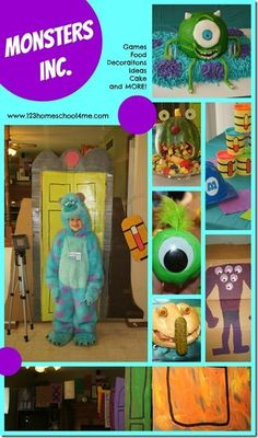 Monsters Inc Birthday Party theme after Disney Movie with Mike and Sully games, activities or kids, art projects, party favors, monsters themed food and more