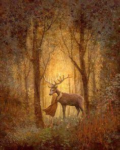 XXX Deer Illustration, Mural Infantil, Photo D Art, Fairytale Art, Belles Images, Fairy Art, Whimsical Art, Faeries, Fantasy Art