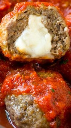 Stuffed Meatballs Mozzarella Stuffed Meatballs ~ a fun twist on the classic recipe. Serve these meatballs as a party appetizer or over a big plate of spaghetti for a hearty meal!Mozzarella Stuffed Meatballs ~ a fun twist on the classic recipe. Serve these Meat Recipes, Low Carb Recipes, Cooking Recipes, Healthy Recipes, Meatball Recipes, Stuffed Food Recipes, Lasagna Recipes, Broccoli Recipes, Snacks