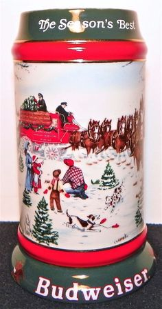 Beer Stein - Vintage 1991 - Budweiser World Famous Clydesdales - Christmas