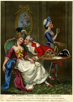 A girl sleeps in a chair while a young officer kisses her; in the background a servant admires the ring with which she has been bribed to admit the man.  10 November 1777 Hand-coloured mezzotint British Museum 1935,0522.1.8
