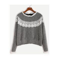 Grey Contrast Lace Ruffle Trim Sweatshirt (82 RON) ❤ liked on Polyvore featuring tops, hoodies, sweatshirts, grey, gray sweatshirt, sweater pullover, grey sweatshirt, long sleeve tops and long sleeve pullover