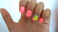 neon nails | Tumblr with geometric accent nail