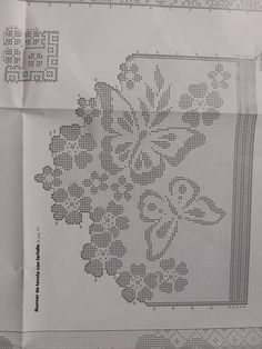 No image description. Butterfly Cross Stitch, Crochet Butterfly, Cross Stitch Flowers, Crochet Flowers, Filet Crochet, Crochet Doily Patterns, Crochet Doilies, Crochet Stitches, Cross Stitch Bookmarks