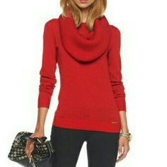 MK red sweater with detachable cowl collar Red sweater. Used and in good condition. Removable collar. A little piling on the sweater, the detachable collar is like new. Michael Kors Sweaters Cowl & Turtlenecks