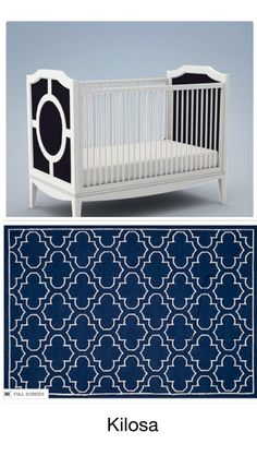Ordered two navy / white Moroccan rugs to arrive in Dec - need to decide between the two. Crib color will be customized to match the rug. Nursery Decor Boy, Moroccan Rugs, Navy And White, Cribs, Toddler Bed, Two By Two, Furniture, Color, Home Decor