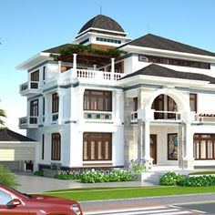 Architect Design House, Architecture Design, House Design, House Elevation, Dream Home Design, Villa, Mansions, House Styles, Houses
