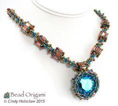 Bead Origami: Garden Jewel Necklace as seen in Beadwork Magazine