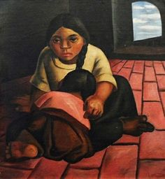by Eduardo Kingman Riofrío (Loja Quito) who was one of Ecuador's greatest artists of the century, among the art circles of other master artists such as Oswaldo Guayasamin and Camilo Egas Quito, Famous Artists, Great Artists, Eduardo Kingman, Antique Picture Frames, San Francisco Art, Female Portrait, Woman Portrait, Religious Art