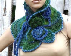 Crochet  Scarf - Capelet /Blue/ green Flower/ Neck Warmer / Freeform crochet/ Green/ Women Freeform Crochet
