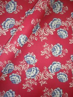 Tecido Adesivo Floral Vermelho