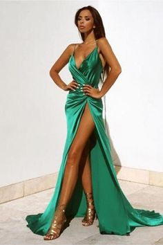Green Sexy V-Neck Prom Dresses,Floor Length With Split Prom Dress