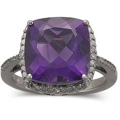 One Kiss™ Amethyst Ring, Diamond Accent Silver, found on polyvore.com