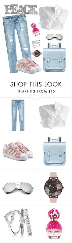 """""""Untitled #12"""" by tato-eleni ❤ liked on Polyvore featuring True Religion, Chicwish, adidas Originals, The Cambridge Satchel Company, Olivia Burton, Marc Jacobs and Grandin Road"""