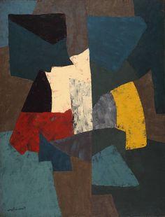Composition bleue, jaune et grise - Serge Poliakoff - 1954