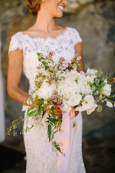 #lace #peony #bouquet Photography by daniellecapitophotography.com  Read more - http://www.stylemepretty.com/2013/08/06/santa-margarita-ranch-wedding-from-danielle-capito-photography/