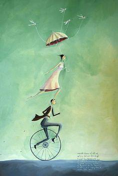 Albert and Esmeralda - Crispin Korschen Art Prints Online, Online Art, Illustrations, Illustration Art, Monocycle, Pierrot Clown, Bicycle Art, Bike, Art For Art Sake