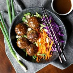 These Vegan Japanese Eggplant No-Meatballs are plant based but totally savory, satisfying, and covered in a homemade teriyaki sauce! Healthy Recipes On A Budget, Healthy Dinner Recipes, Appetizer Recipes, Vegetarian Recipes, Healthy Dishes, Delicious Recipes, Dessert Recipes, Desserts, Homemade Teriyaki Sauce