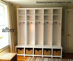 I want something similar to this, only with doors and a little shorter for the kids. I want between 4 and 6 lockers with the hooks and space at the bottom. Mine will be designed more kid like.
