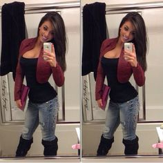Spring Outfit - Black Tank and Boots - Ripped Jeans