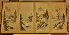Japanese Silk Screen  The Four Seasons  Circa 1950s  by DLDowns, $291.00