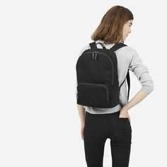 The smallest backpack in this collection fits just what you need. Water-resistant cotton twill exterior Leather detailing Cotton/polyester lining YKK zippers Spot clean only