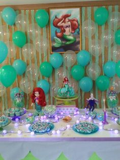 mesa de bolo da ariel - Resultados Yahoo Search da busca de imagens Mermaid Theme Birthday, Little Mermaid Birthday, Little Mermaid Parties, Disney Princess Party, Princess Birthday, 4th Birthday Parties, Birthday Party Decorations, Kids Party Themes, Party Ideas