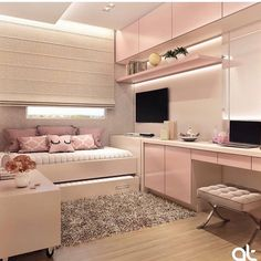 With Circu Magical Furniture you'll find even more pink bedroom inspirations . Girl Bedroom Designs, Room Ideas Bedroom, Small Room Bedroom, Small Rooms, Modern Bedroom, Small Girls Bedrooms, Twin Girls, Teen Girl Bedrooms, Bedroom Themes