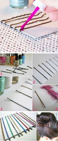 The best DIY projects & DIY ideas and tutorials: sewing, paper craft, DIY. Ideas About DIY Life Hacks & Crafts 2017 / 2018 Bling Your Bobby Pins with Nail Varnish Diy And Crafts Sewing, Fun Crafts, Crafts For Kids, Simple Life Hacks, Useful Life Hacks, Makeup Tricks, Cool Diy Projects, Craft Projects, Life Hacks Every Girl Should Know