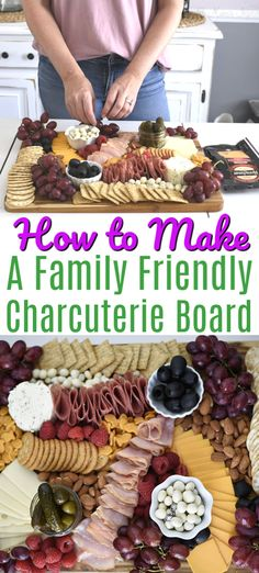 Making a beautiful family-friendly charcuterie board doesn't have to be intimidating. This tutorial shows you how to make a delicious charcuterie board in 5 easy steps using salami ham crackers cheese grapes and more! It will be a hit at your next party! Charcuterie Board Meats, Charcuterie Recipes, Charcuterie And Cheese Board, Cheese Boards, Meat And Cheese Tray, Cheese Platters, Food Platters, Snacks To Make, Cookies Et Biscuits