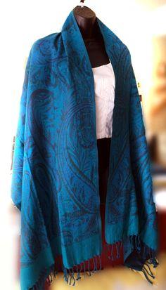 Turquoise Paisley Shawl,Pure Pashmina-Cashmere Wool Shawl,Kashmiri Pashmina Wool Wrap,Indian Paisley Shawl,Turquoise Blue Wrap by ShawlsnScarves on Etsy