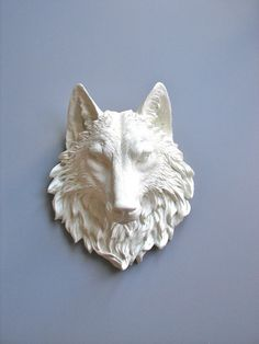 Faux Taxidermy Large Wolf Head Wall Decor wall hanging office decor: Willem the Wolf in white