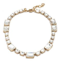 """Hand faceted to catch the light, softly colored stones are a pretty way to add a subtle dose of sparkle to your look. <ul><li>Length: 16"""" with a 2 1/4"""" extender chain for adjustable length.</li><li>Brass casting, glass stones.</li><li>Light gold ox plating.</li><li>Import.</li></ul>"""